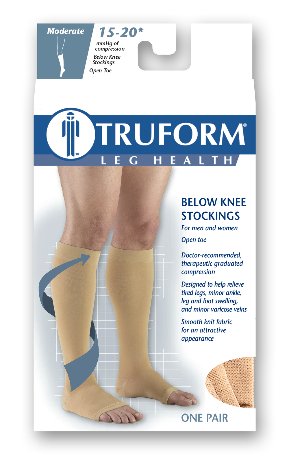 Truform, 0875, 15-20 mmHg, Soft Top, Open Toe, Knee High, Stockings, Package