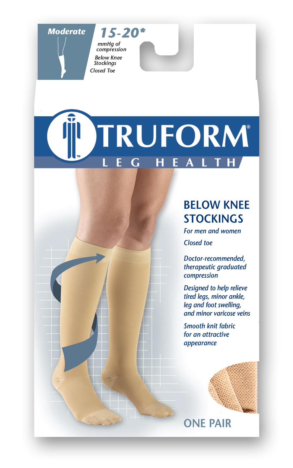 Truform, 8875, 15-20 mmHg, Silicone Dot Top, Closed Toe, Knee High, Stockings, Package