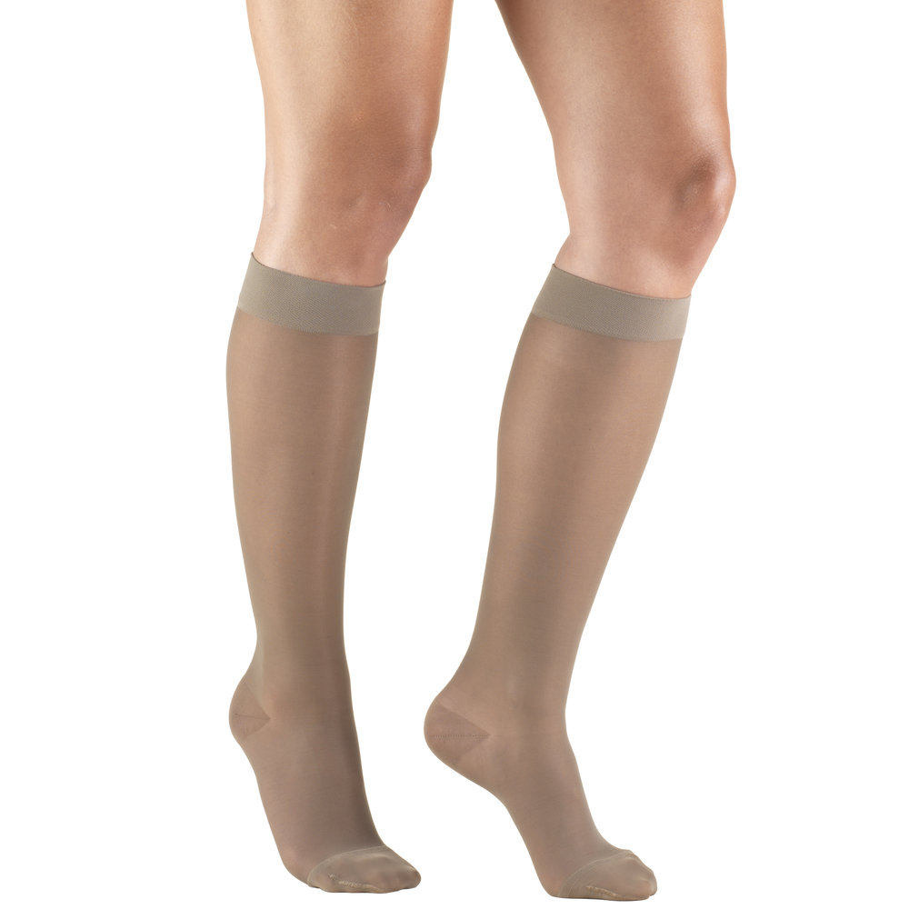 Truform, 1773, 15-20 mmHG, Sheer, Knee High, Taupe, Compression Stockings