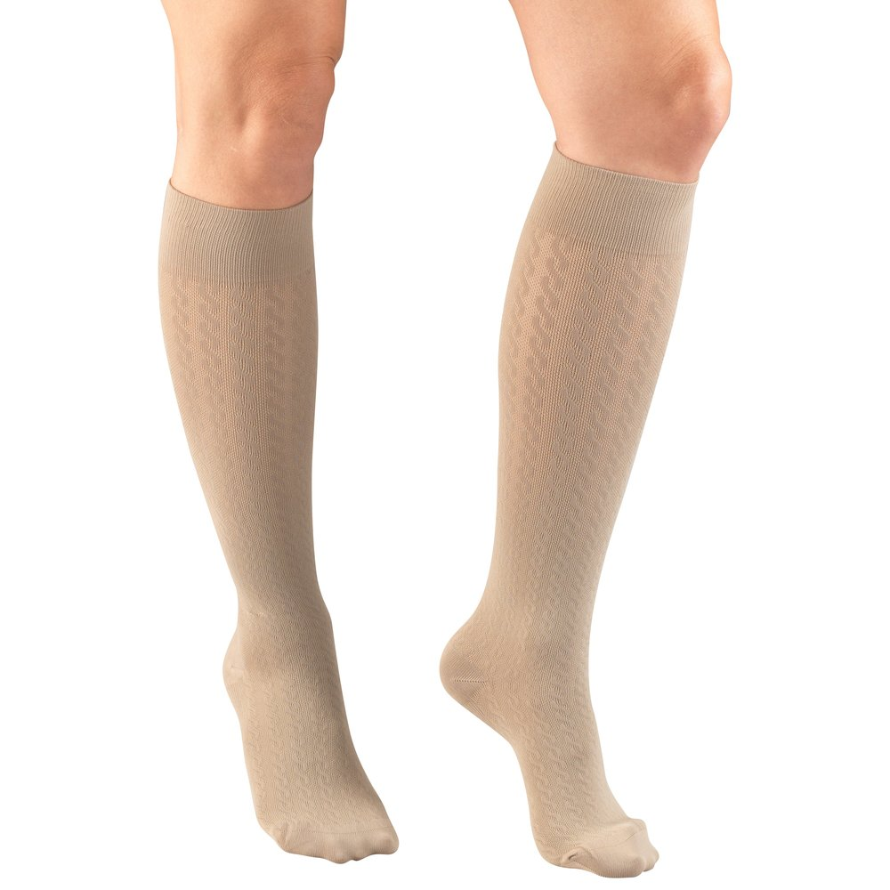 Truform, 1975, Compression, 15-20 mmHg, Cable Pattern, Women's Socks, Tan