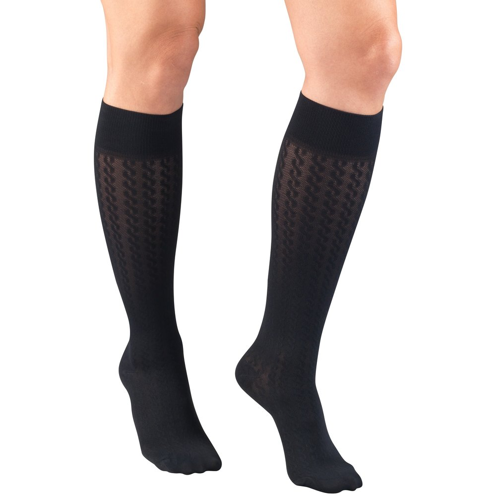 Truform, 1975, Compression, 15-20 mmHg, Cable Pattern, Women's Socks, Navy