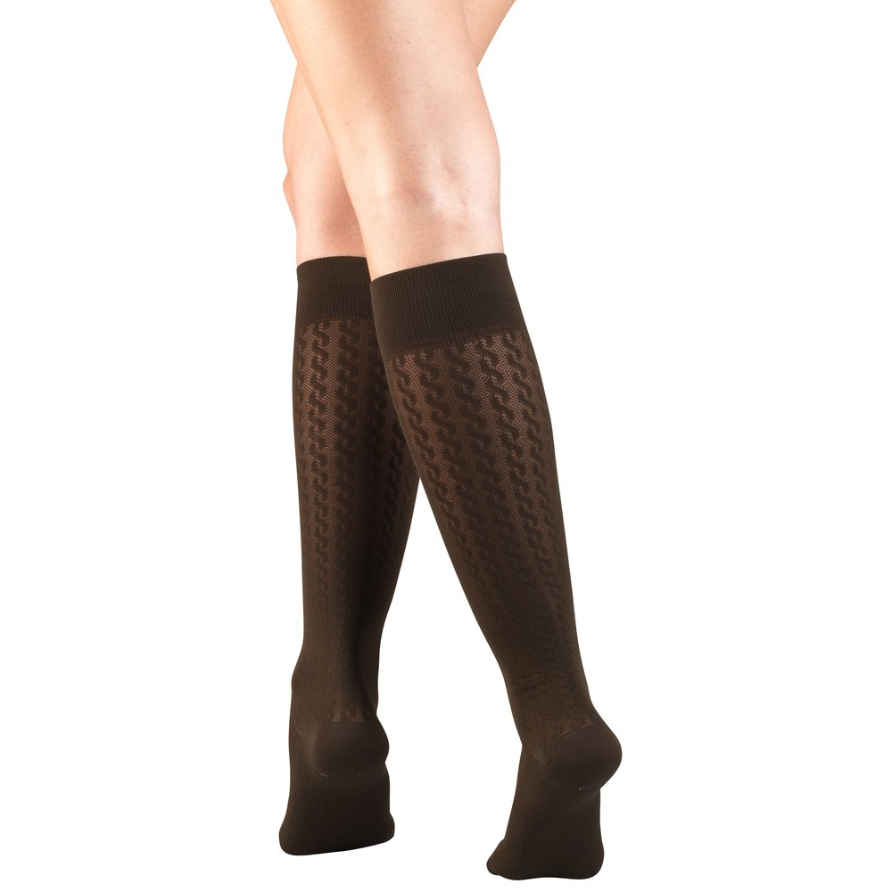Truform, 1975, Compression, 15-20 mmHg, Cable Pattern, Women's Socks, Brown
