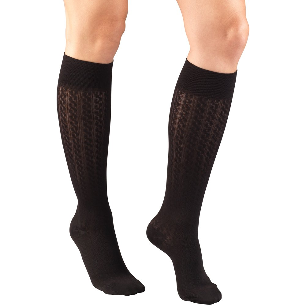 Truform, 1975, Compression, 15-20 mmHg, Cable Pattern, Women's Socks, Black