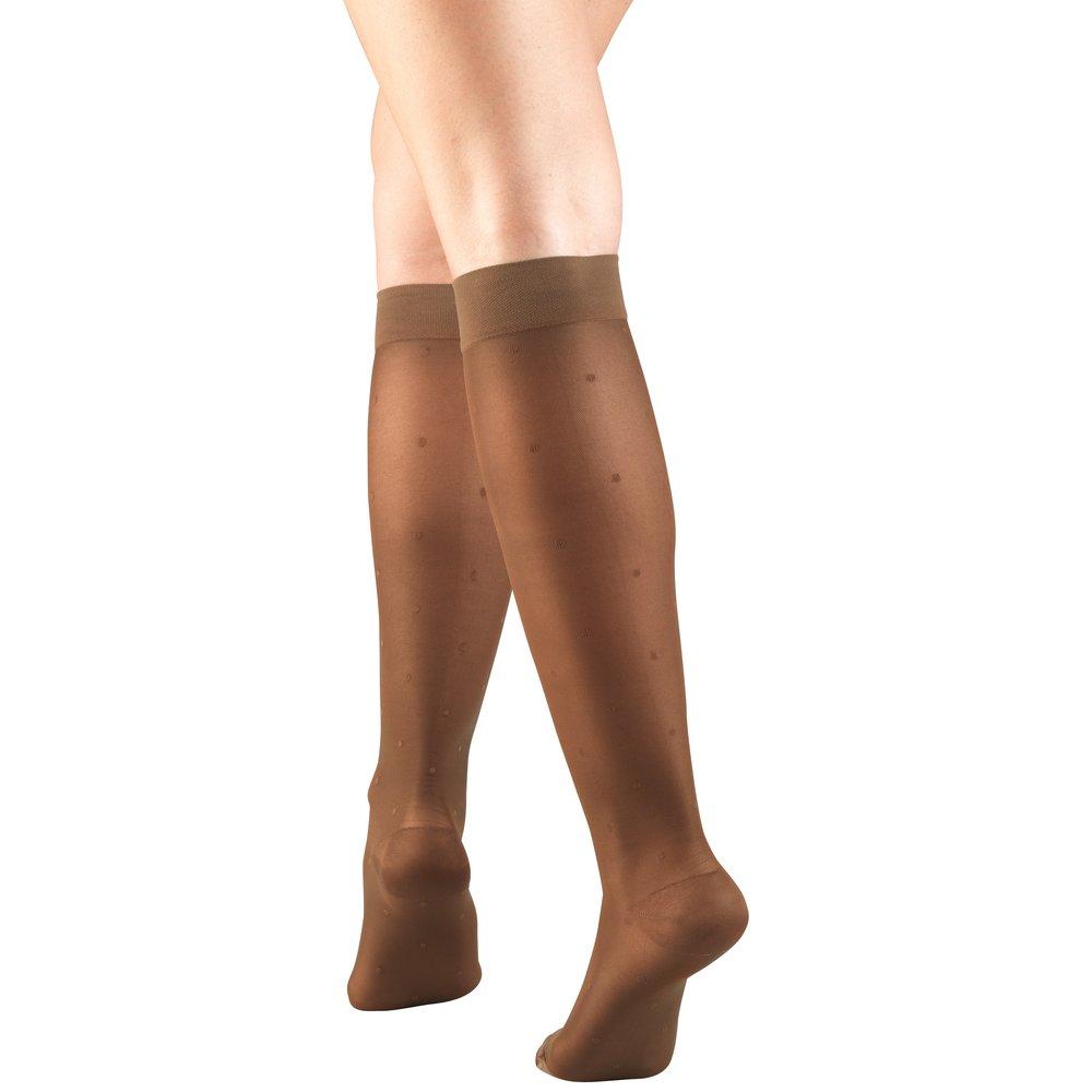 Truform, 1782, 15-20mmHg, Sheer, Dot Pattern, Knee High, Espresso, Compression Stockings