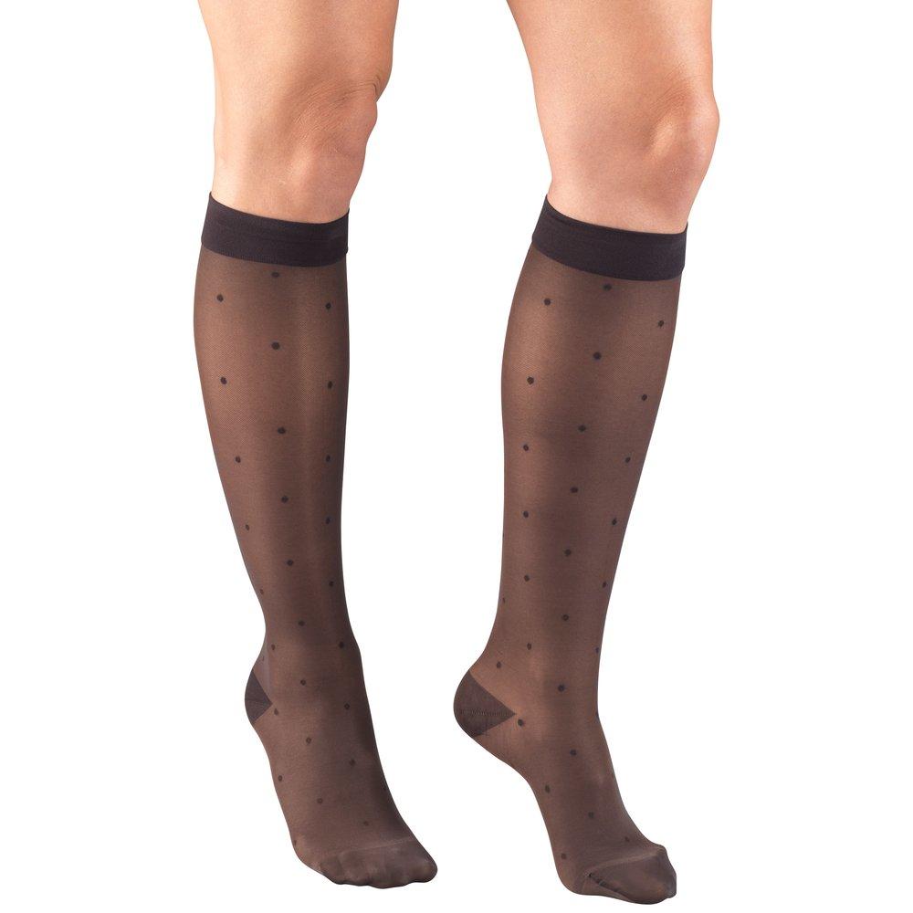 Truform, 1782, 15-20mmHg, Sheer, Dot Pattern, Knee High, Charcoal, Compression Stockings