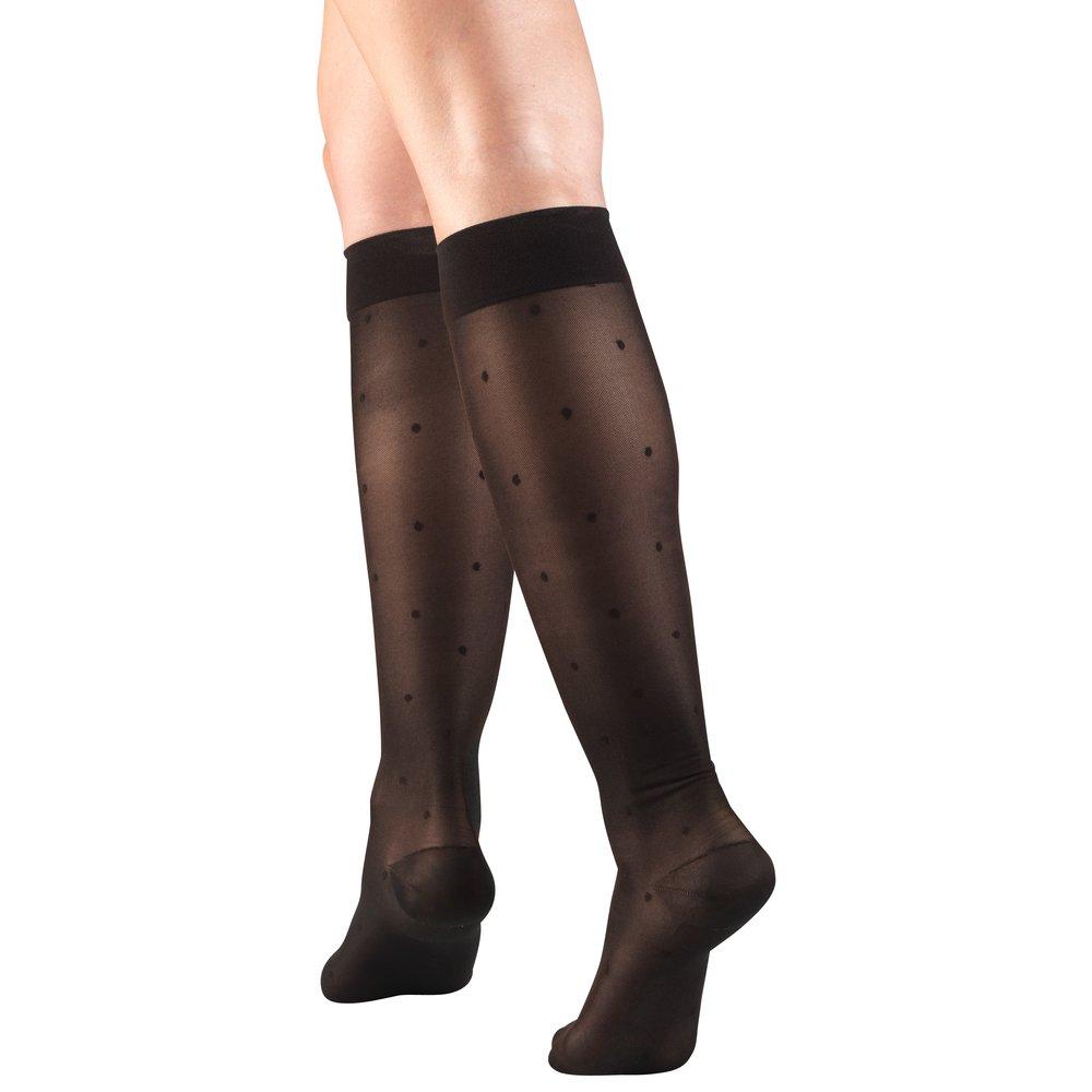 Truform, 1782, 15-20mmHg, Sheer, Dot Pattern, Knee High, Black, Compression Stockings