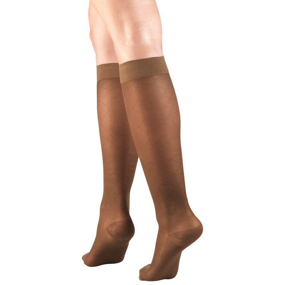 Truform, 1783, 15-20mmHg, Sheer, Diamond Pattern, Knee High, Espresso, Compression Stockings