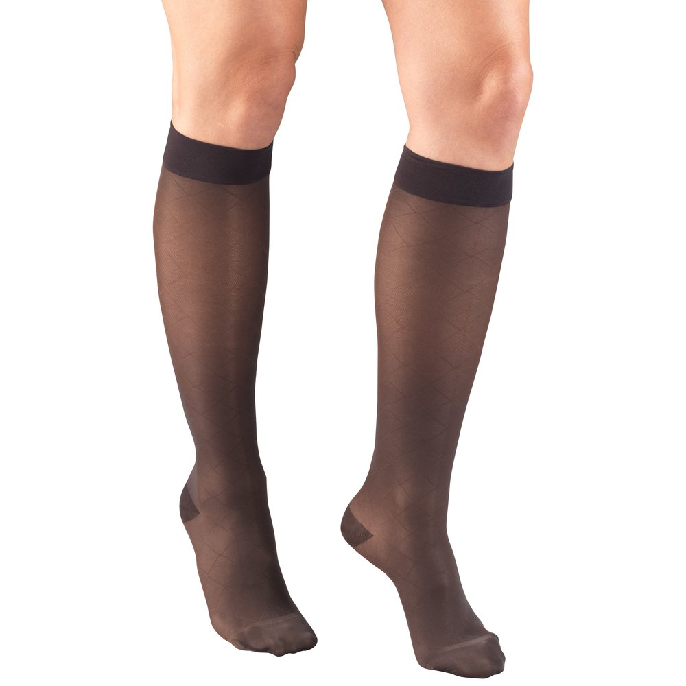 Truform, 1783, 15-20mmHg, Sheer, Diamond Pattern, Knee High, Charcoal, Compression Stockings