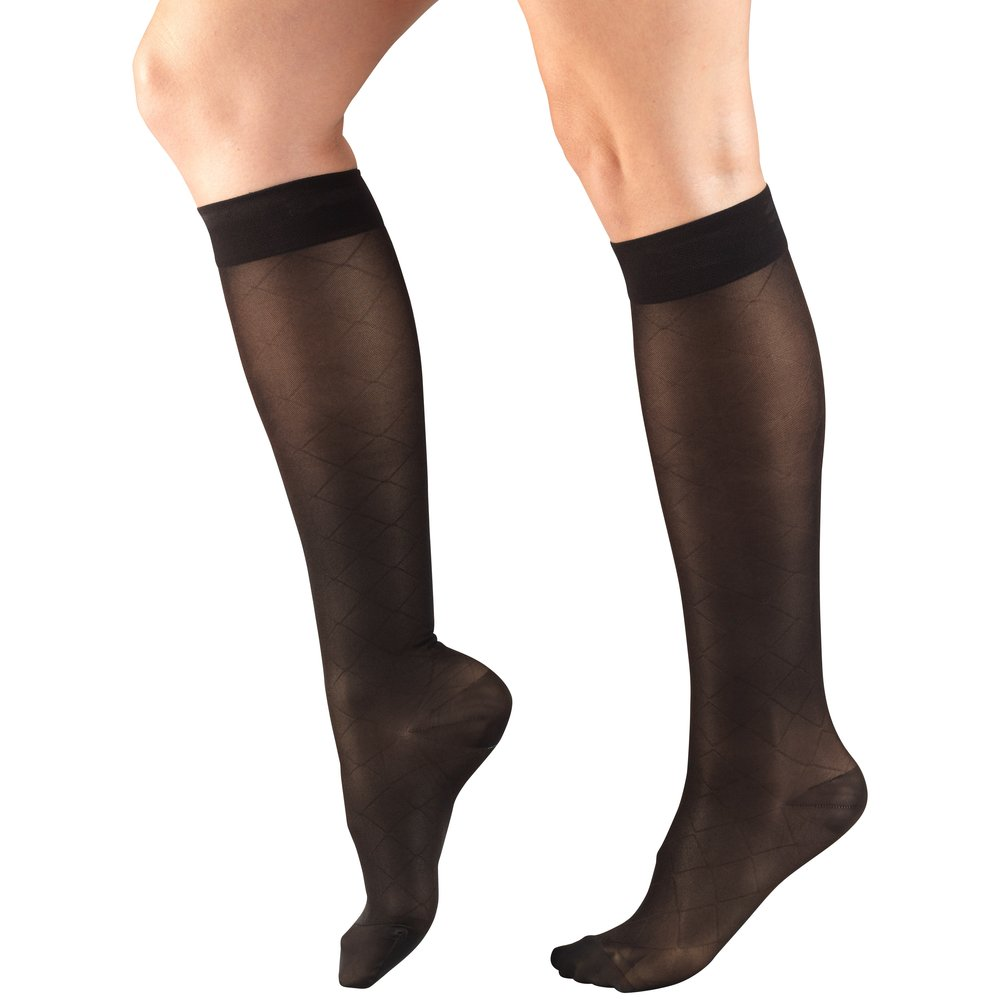 Truform, 1783, 15-20mmHg, Sheer, Diamond Pattern, Knee High, Black, Compression Stockings