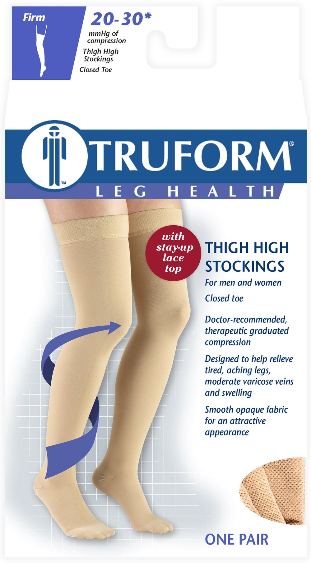 8867 / THIGH HIGH - SILICONE LACE TOP, CLOSED TOE / 20-30 MMHG PACKAGING IMAGE