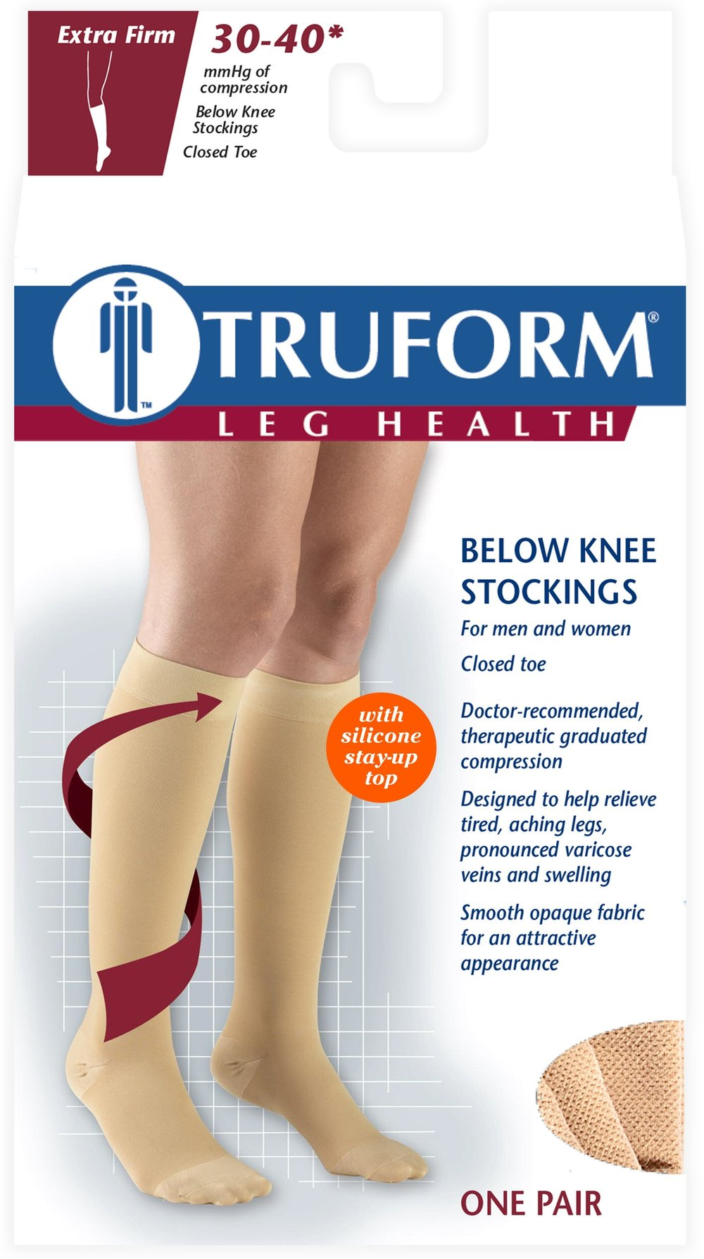 8844 / KNEE HIGH-SILICONE DOT TOP, CLOSED TOE / 30-40 MMHG PACKAGING IMAGE