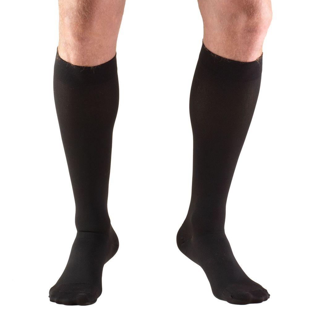Truform, 8875, 15-20 mmHg, Silicone Dot Top, Closed Toe, Knee High, Stockings, Black, Front