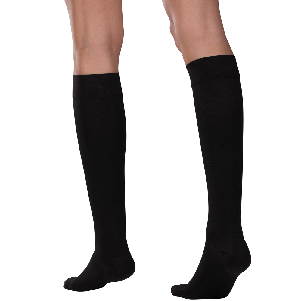 Truform, 8875, 15-20 mmHg, Silicone Dot Top, Closed Toe, Knee High, Stockings, Black, Back