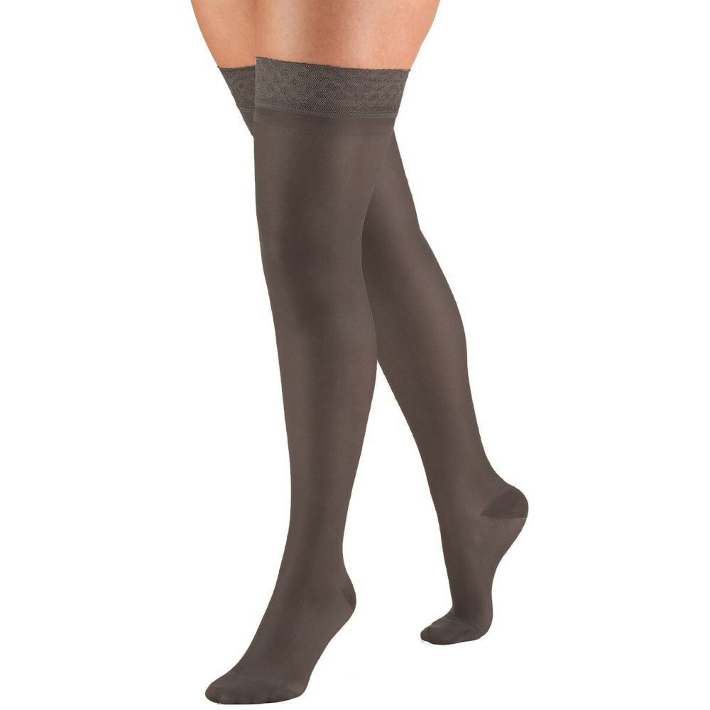 Truform, 1774, 15-20 mmHG, Sheer, Thigh High, Charcoal, Compression Stockings