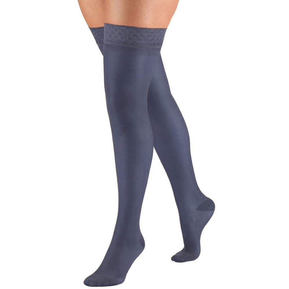Truform, 1774, 15-20 mmHG, Sheer, Thigh High, Navy, Compression Stockings