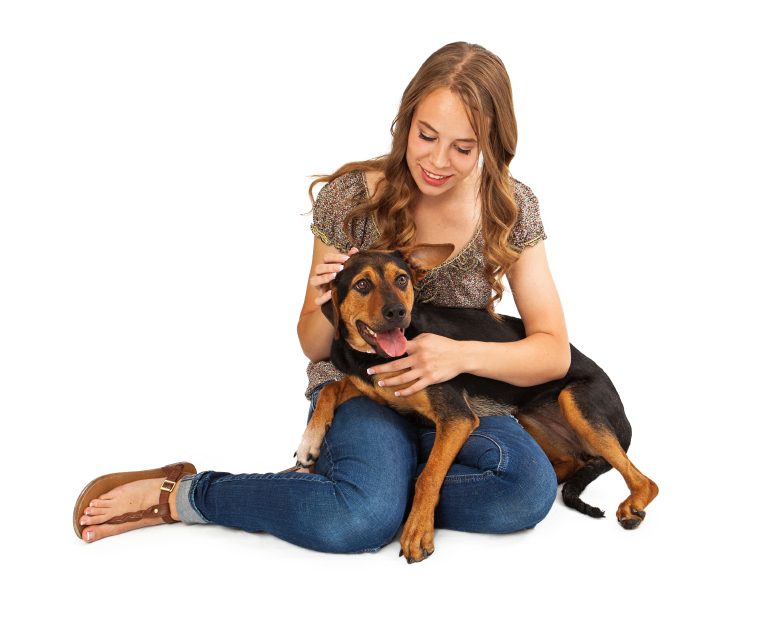 Girl Petting Crossbreed Dog