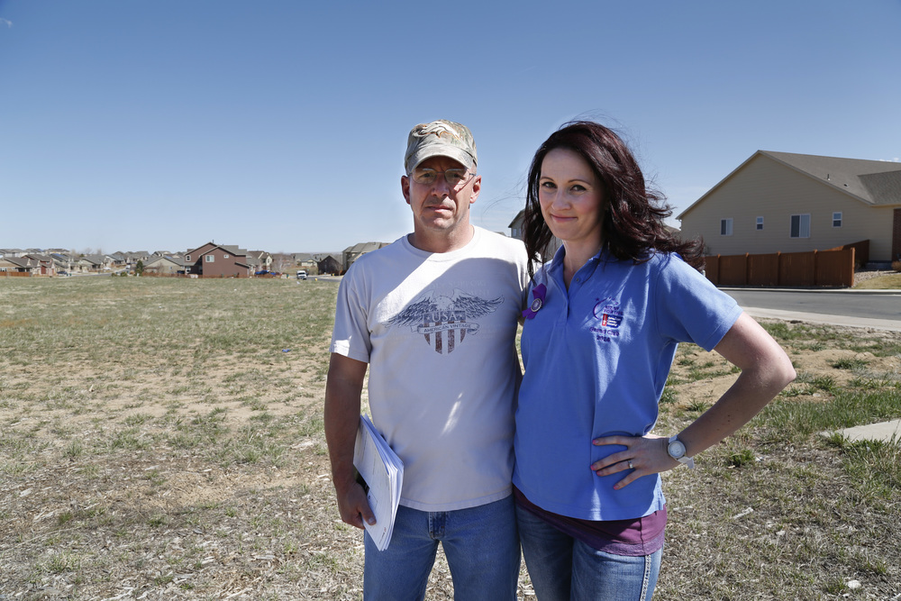 Casey Lemieux and Chelsey Crittendon are fighting a proposed Xcel Energy substation near their Thornton, CO subdivision. Dan Boyce.