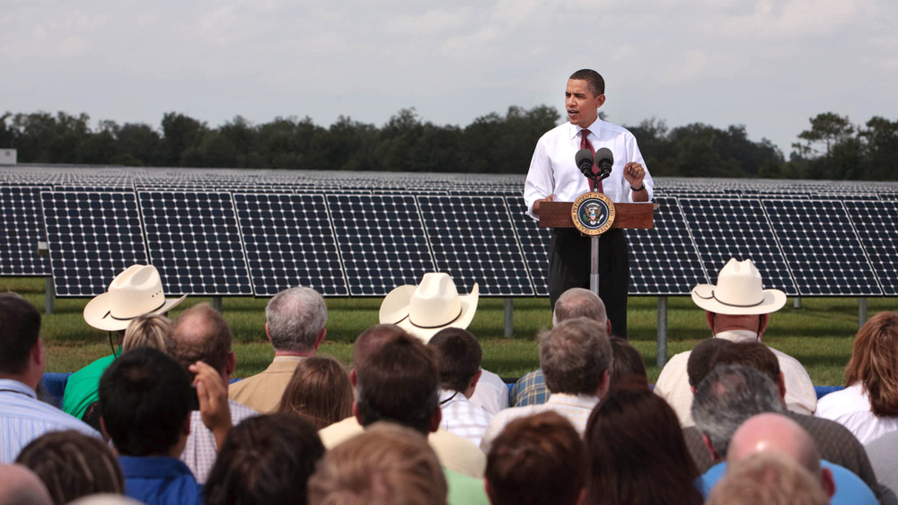President Obama announcing $3.4 billion in stimulus funds to modernize the electric grid on October 27, 2009. White House.