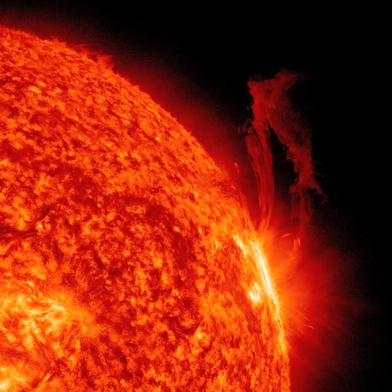 A solar flare, as captured by NASA's  Solar Dynamics Observatory . NASA.