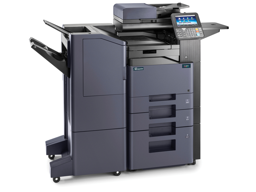 The CS 406ci with 3000 sheet finisher, 3000 sheet paper deck and, multi-use work tray