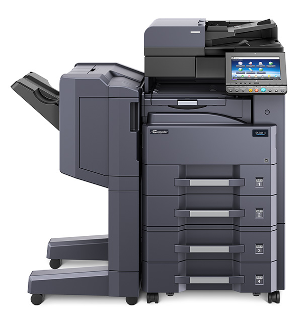 The CS 4012i with optional 1000 sheet finisher and X 2 500 sheet paper drawer deck