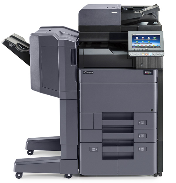 The CS 4052ci with 1000 sheet optional finisher and  3000 sheet letter paper deck