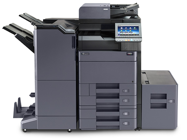 The CS 6052ci with 4000 sheet finisher, 2 x 500 sheet optional cassettes and 3000 sheet side paper feeder