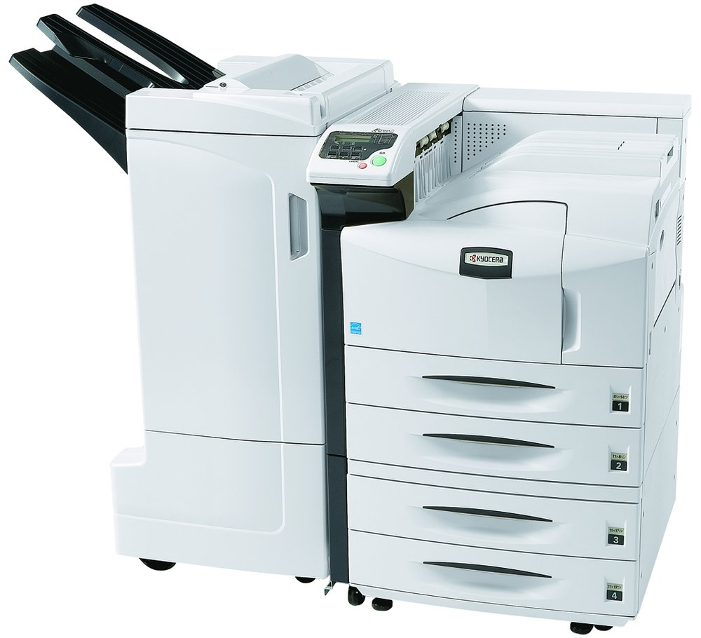 The FS-9530DN with optional 3000 sheet finisher and 2 x 500 sheet cassette