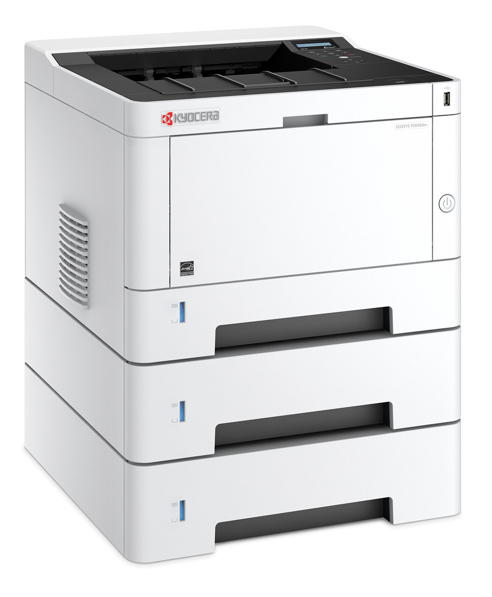 The Kyocera P2040dw with x 2 150 sheet optional trays