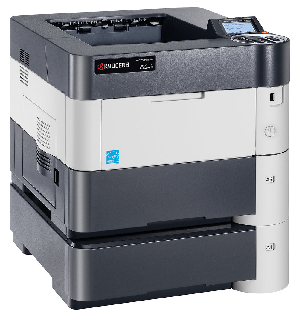 The Ecosys P3050dn with x 2 Optional paper trays