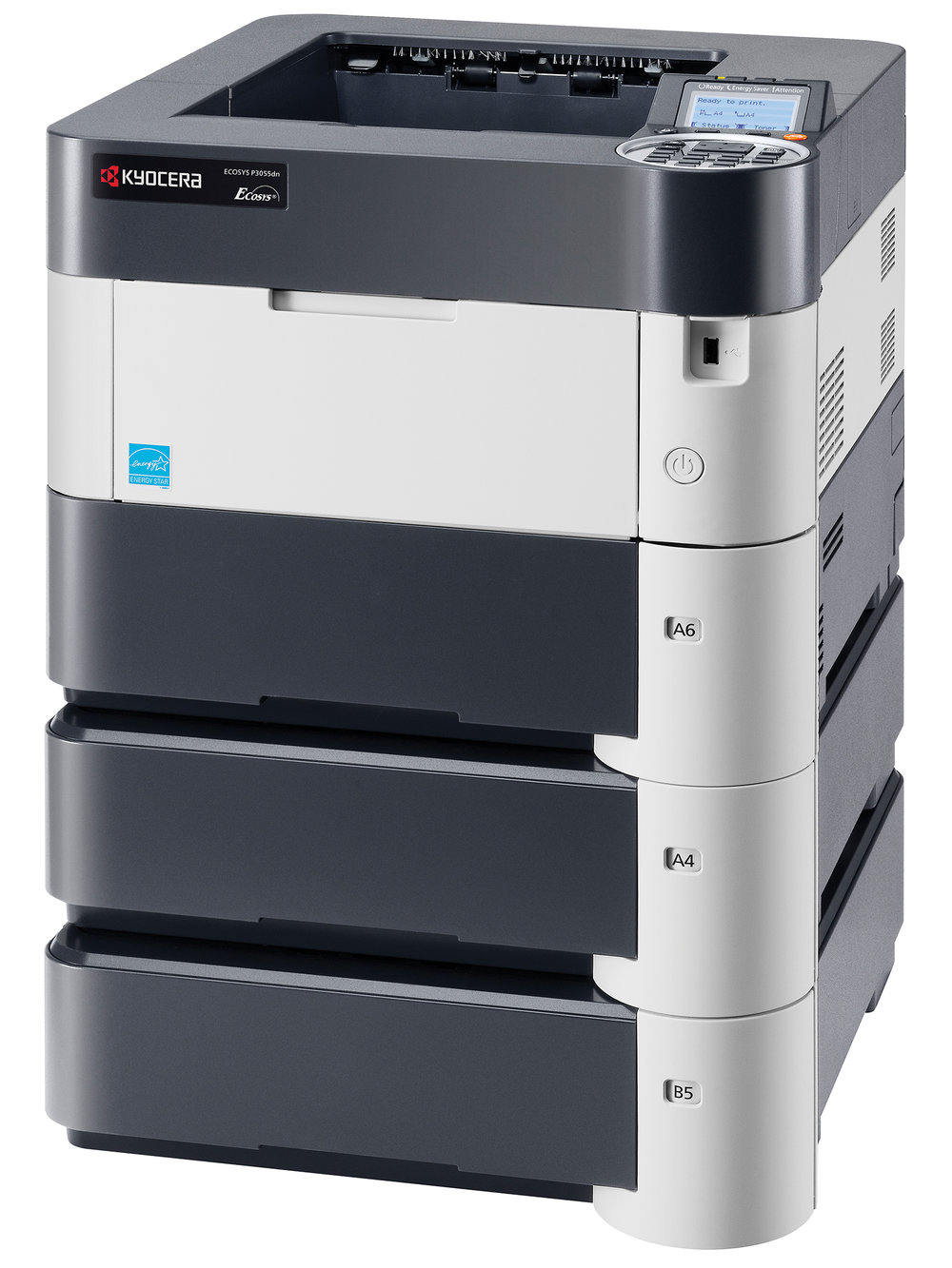 The Ecosys P3055dn with x 2 optional cassettes
