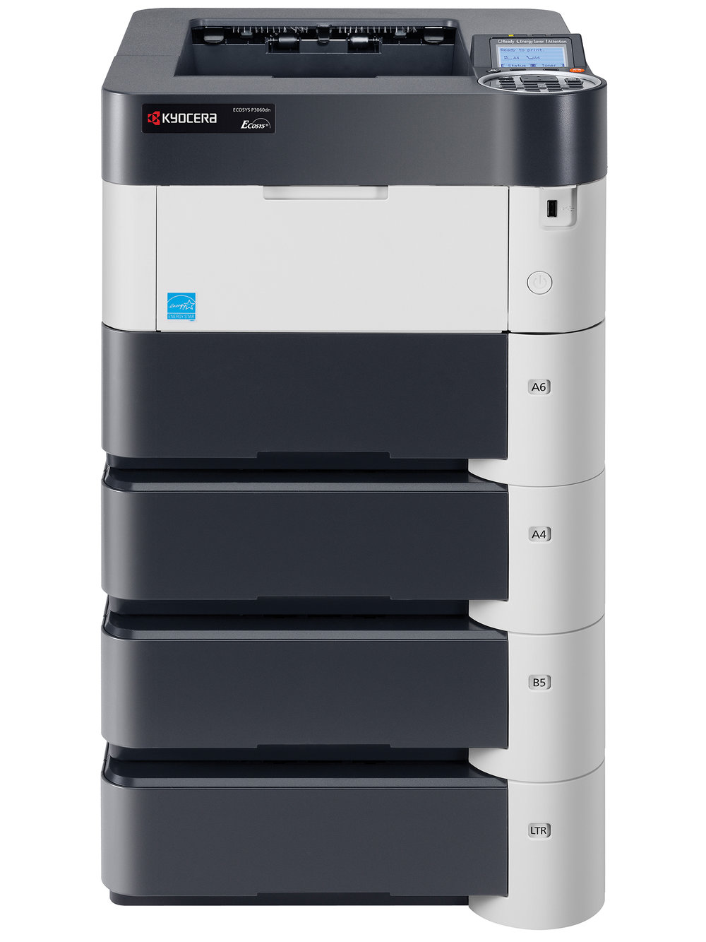 The Ecosys P3060dn with x 3 optional paper trays