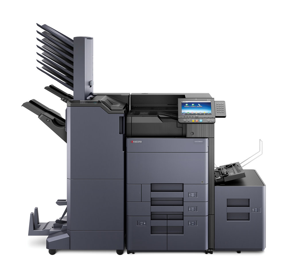 The Ecosys P8060cdn with 4000 sheet finisher with booklet folder, multi tray mailbox sorter, 3000 sheet lower letter cassette and, side mounted 3000 sheet letter deck with 500 sheet flex tray.