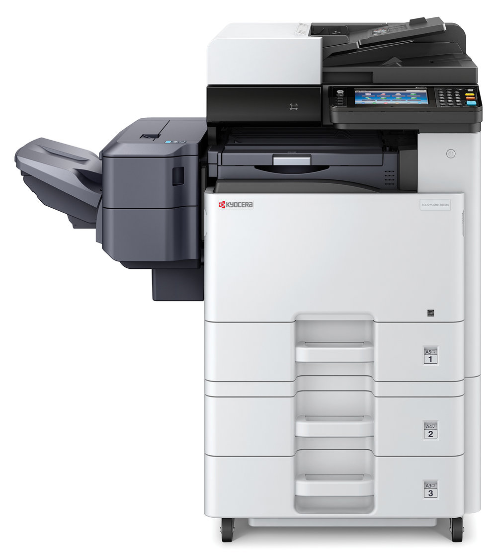 The Ecosys M8130cidn with optional x 2 500 sheet cassettes and stapling finisher