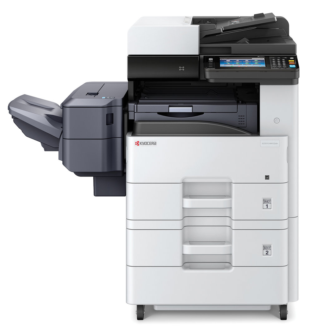 The Ecosys M4132i with a 500 sheet optional cassette and 500 sheet stapling document finisher