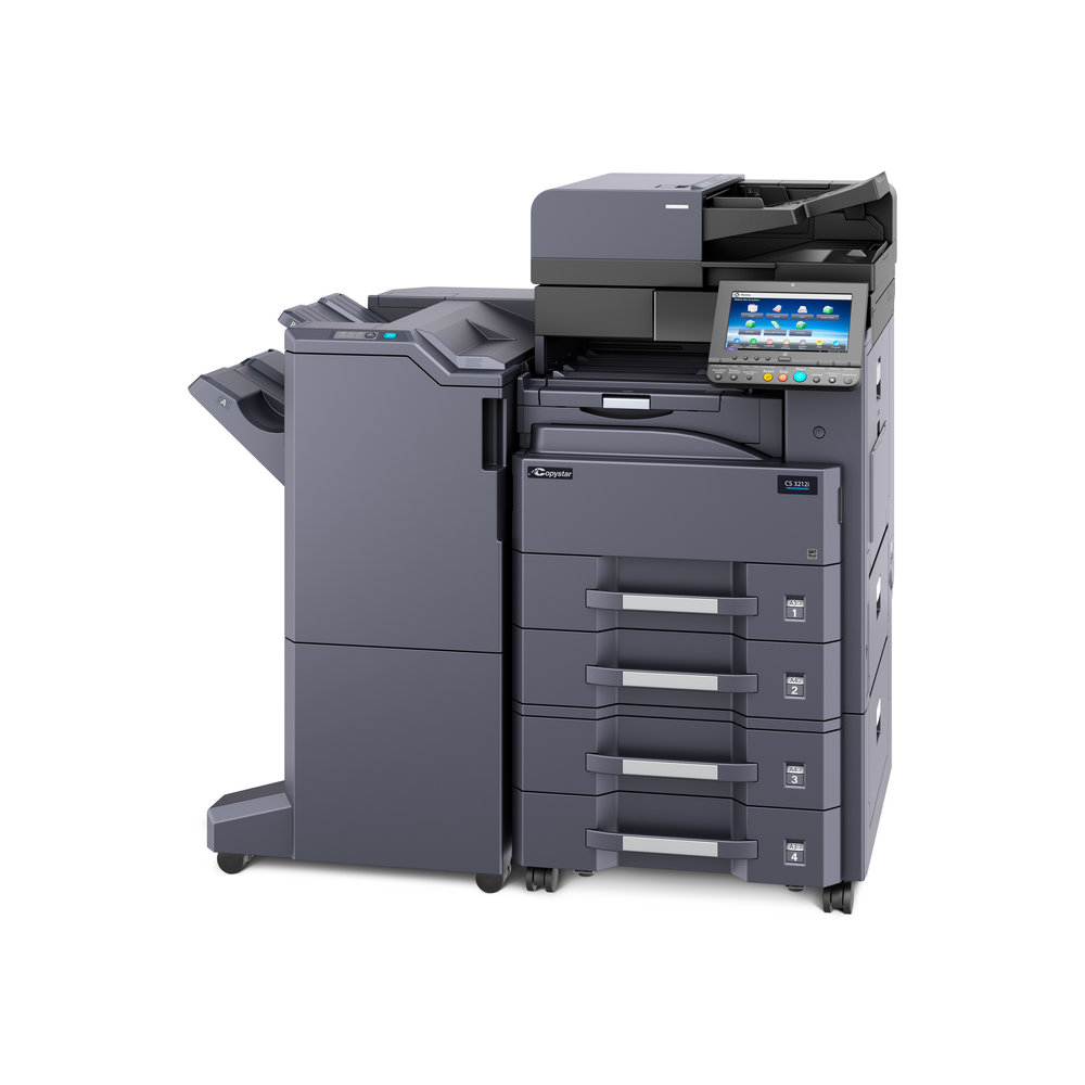 The CS 3212i with optional 4000 sheet finisher and 2 x 500 sheet paper drawer deck