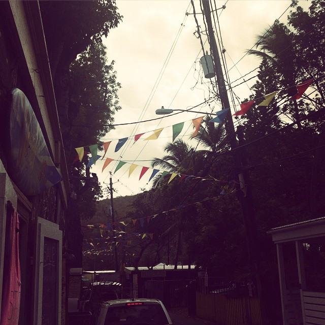 Those flags aren't holding up the street lights. It's Carnival! #stjohn #stj #stjohnfestival #carnival #virginislands #vi #usvi #caribbean #caribbeancarnival #wastedsun