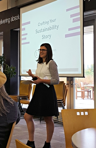 Kate presents at the sustainability storytelling workshop. Learn more about her background.