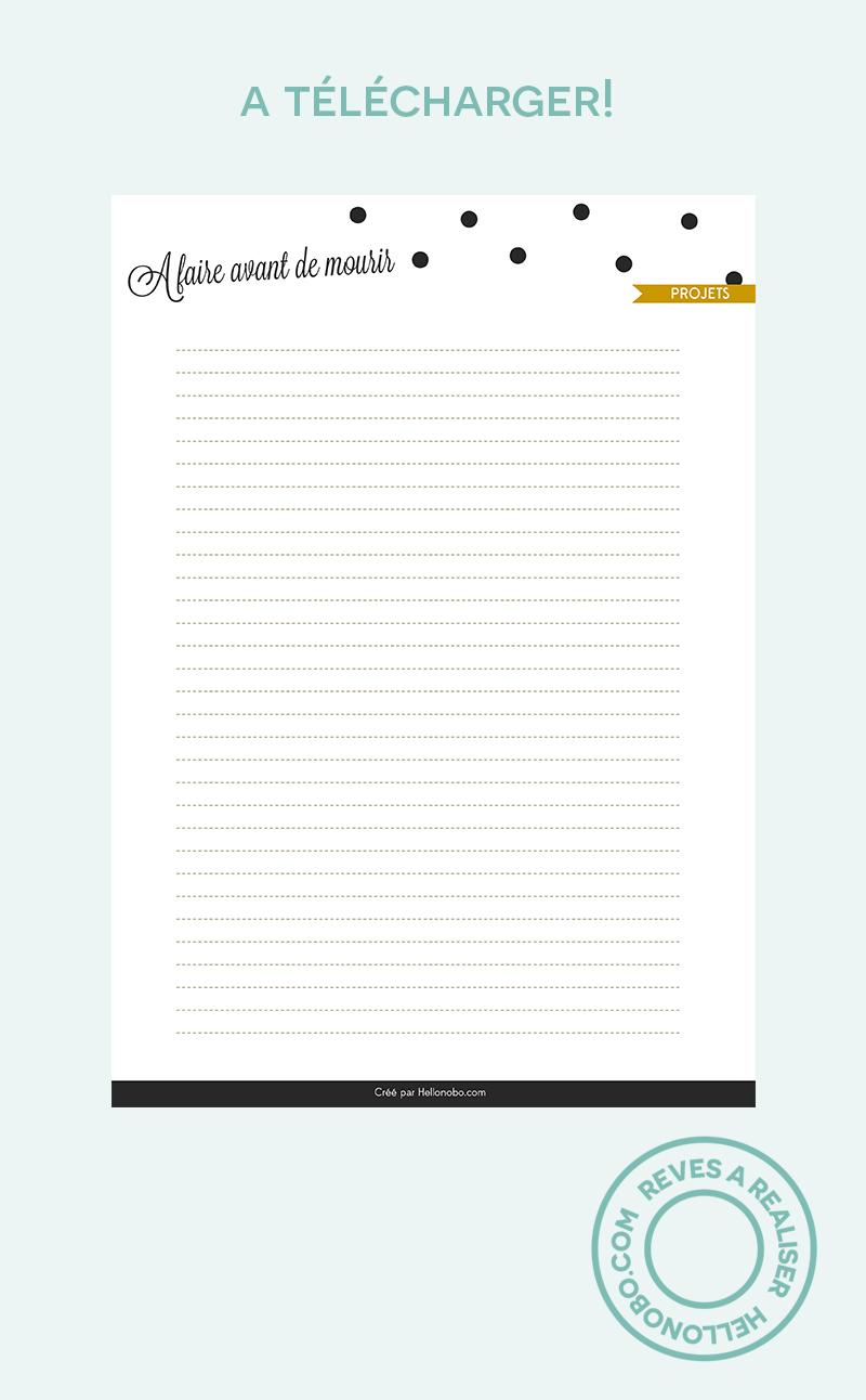 """Liste """"A faire avant de mourir"""" - Hellonobo.com"""