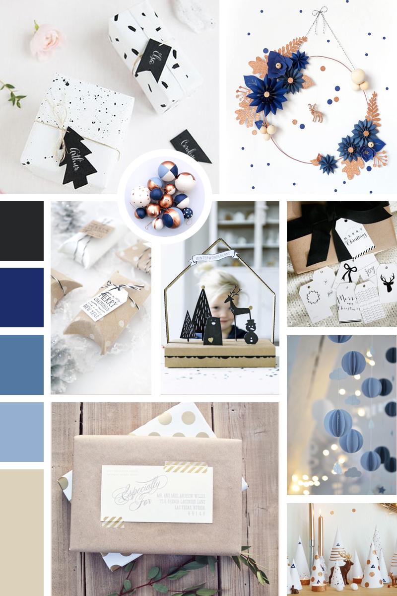 Moodboard Noël bleue