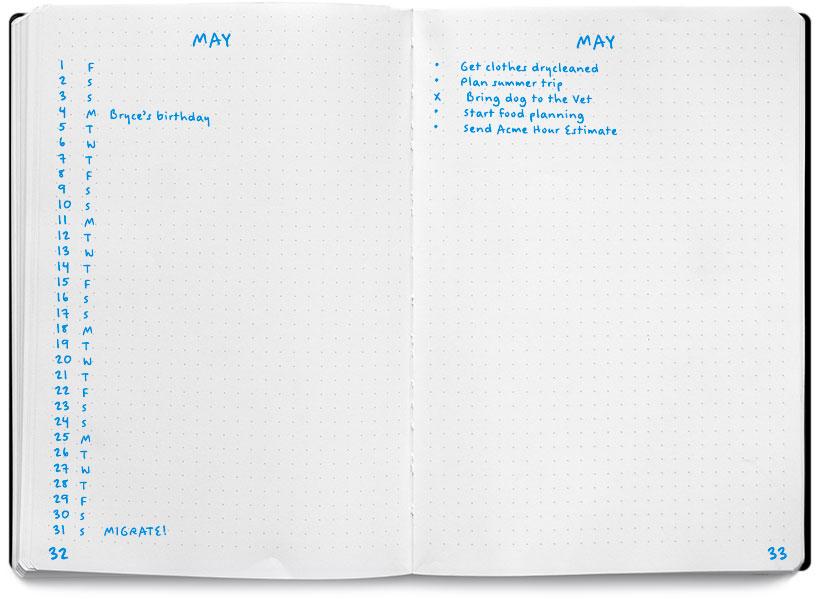Page mensuelle pour noter les événements et choses à faire / Source: bulletjournal.com
