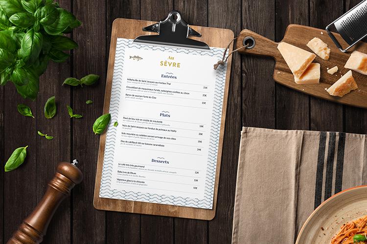 Menu Restaurant Au Sèvre Identité visuelle par Hello Nobo