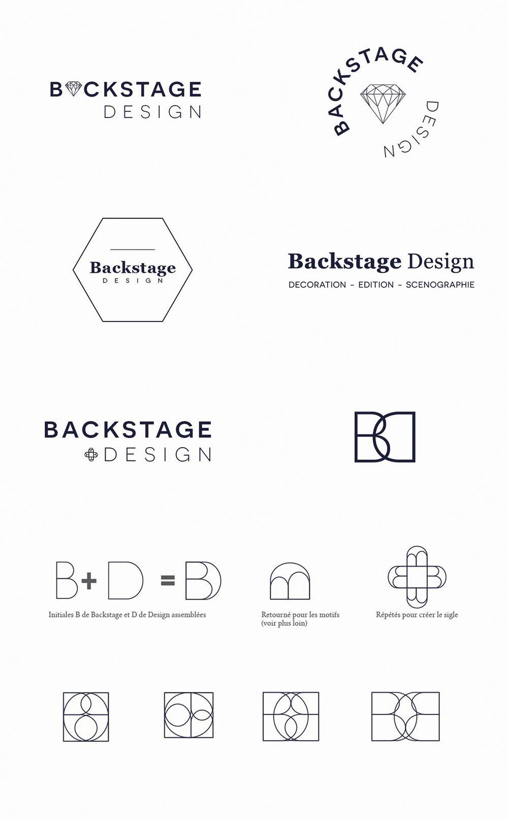 logo recherches Identité visuelle Backstage Design Architecture Edition Scenographie par Hello Nobo