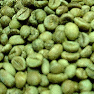 Green coffee beans. Just like brown coffee beans, only, well... green.