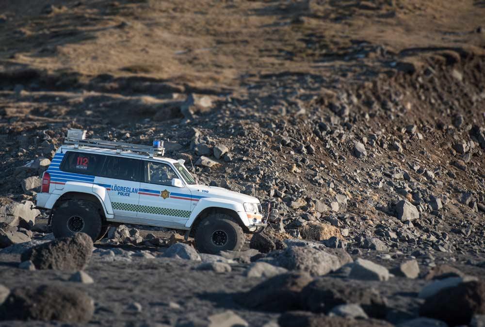 Icelandic Police at Reynisfjara black sand beach