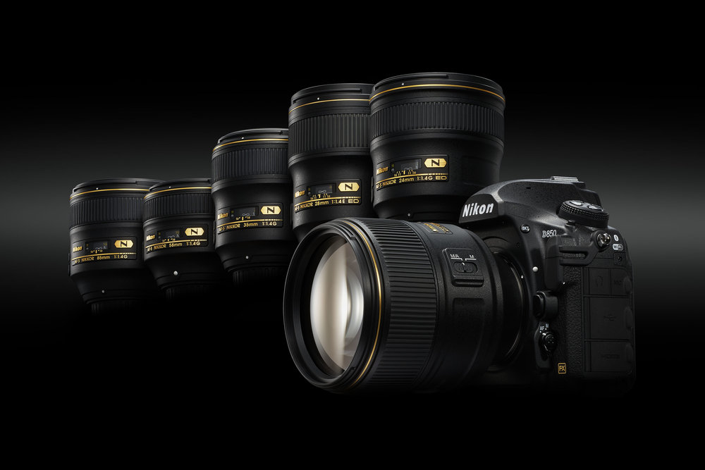 Nikon D850 with the incredible 24mm, 28mm, 35mm, 58mm and 85mm f/1.4 primes