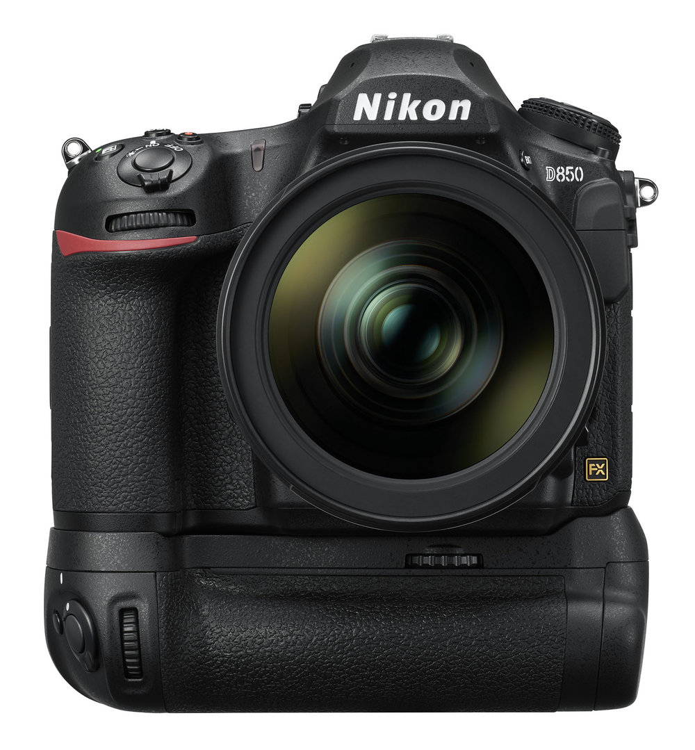 Nikon D850 with optional MB-D18 multi-power battery pack (capable of 9FPS with EN-EL18 battery in battery pack)