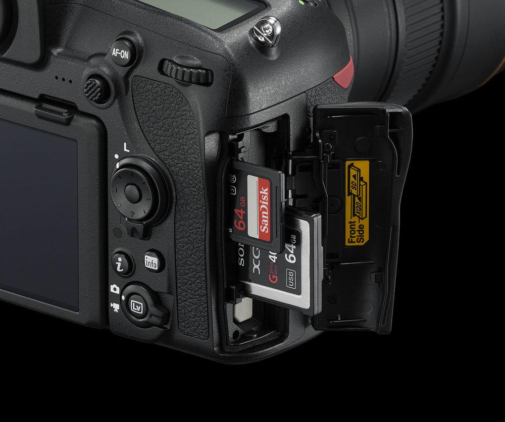 Nikon D850 with dual card UHS-II SD card slot and XQD card slot