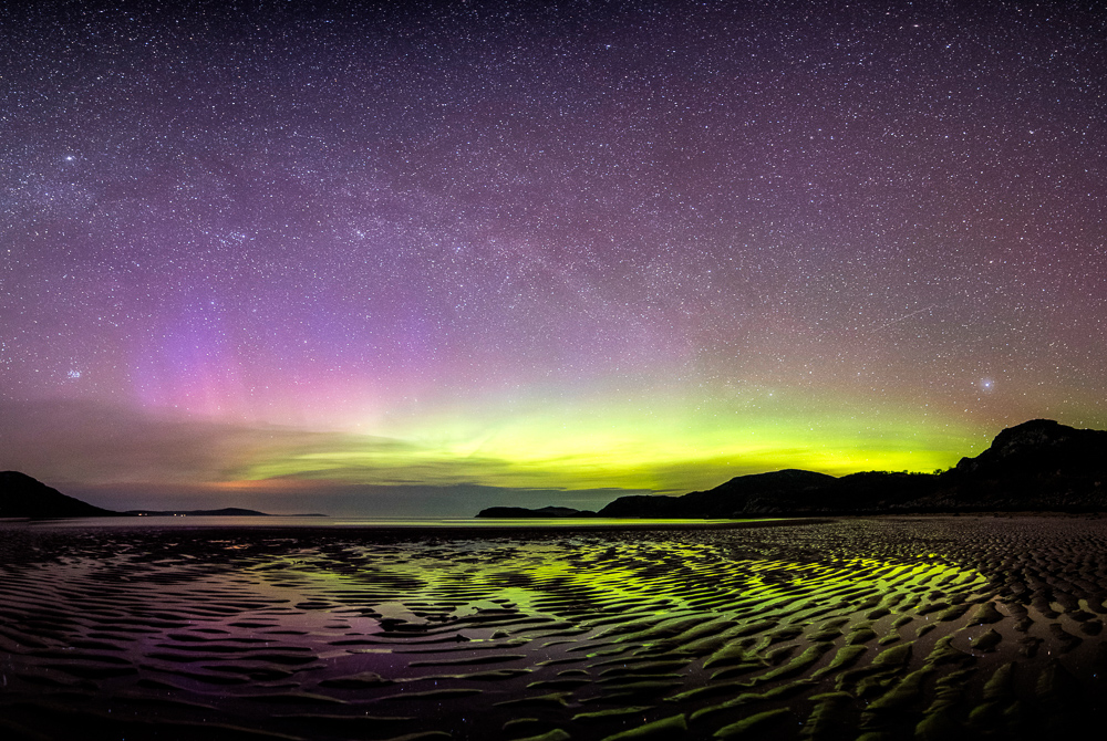 Aurora over the northern tip of Scotland. Nikon D750, 14-24mm f/2.8, 30 sec, f/2.8, ISO 5000
