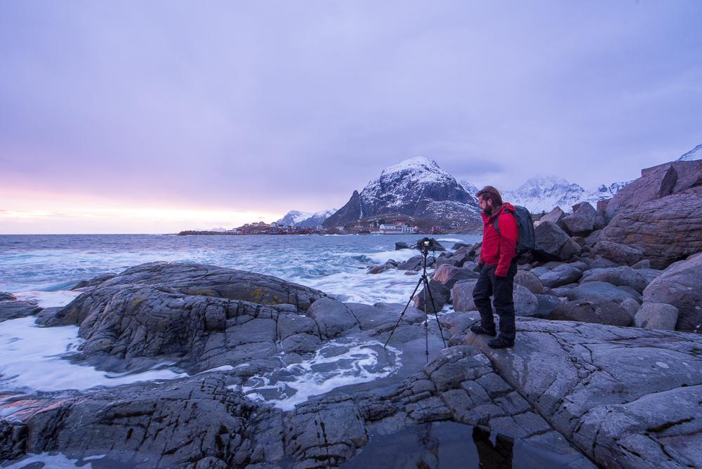 Me in Lofoten shooting the last of the two-hour sunrise/sunset at a stunning location